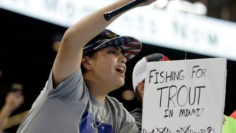 A fan holds up a sign for Los Angeles Angels center fielder Mike Trout during an interleague baseball game against the Miami Marlins, Sunday, May 28, 2017, in Miami. (AP Photo/Lynne Sladky)