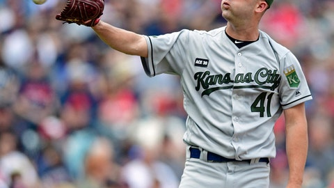 Kansas City Royals starting pitcher Danny Duffy reacts after his pitch was called a ball in the fourth inning of a baseball game against the Cleveland Indians, Sunday, May 28, 2017, in Cleveland. (AP Photo/David Dermer)
