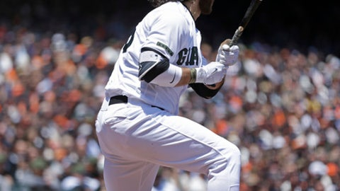 San Francisco Giants' Brandon Crawford watches his two run double in the second inning of a baseball game Sunday, May 28, 2017, in San Francisco. (AP Photo/Ben Margot)
