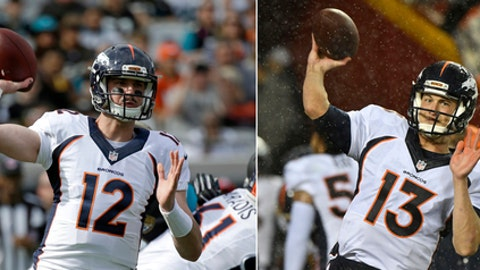FILE - At left, in a Dec. 4, 2016, file photo, Denver Broncos quarterback Paxton Lynch (12) throws a pass against the Jacksonville Jaguars during the first half of an NFL football game in Jacksonville, Fla. At right, in a Dec. 25, 2016, file photo, Denver Broncos quarterback Trevor Siemian (13) warms up before an NFL football game against the Kansas City Chiefs in Kansas City, Mo. The Broncos, a team with a dazzling defense and ambitions of a deep playoff run, must decide which young quarterback will lead them in 2017: the gifted first rounder Paxton Lynch or the egghead seventh rounder Trevor Siemian. (AP Photo/File)