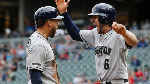 Houston Astros' George Springer, left, and Jake Marisnick celebrate as they score the tying and go-ahead run against the Minnesota Twins on a double by Josh Reddick in the eighth inning of a baseball game Monday, May 29, 2017 in Minneapolis. (AP Photo/Jim Mone)