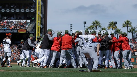 Bryce Harper suspended four games, Hunter Strickland six, for Major League Baseball brawl