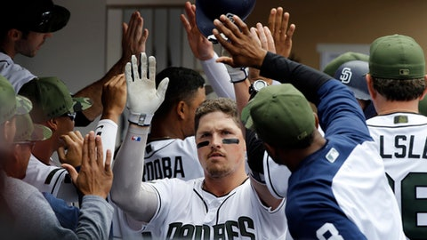San Diego Padres' Hunter Renfroe, center, is congratulated by teammates for hitting a grand slam against the Chicago Cubs during the fourth inning of a baseball game in San Diego, Monday, May 29, 2017. (AP Photo/Alex Gallardo)