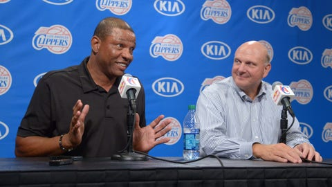 Aug 18, 2014; Los Angeles, CA, USA; Los Angeles Clippers coach Doc Rivers (left) and owner Steve Ballmer at press conference at Staples Center. Mandatory Credit: Kirby Lee-USA TODAY Sports