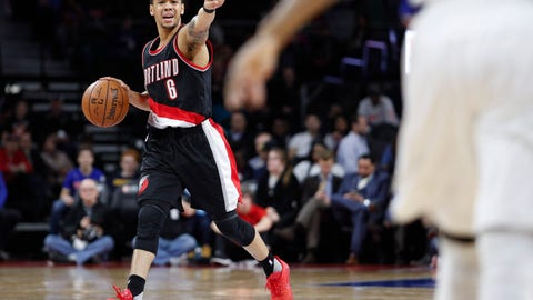 Feb 28, 2017; Auburn Hills, MI, USA; Portland Trail Blazers guard Shabazz Napier (6) points down the court during the second quarter against the Detroit Pistons at The Palace of Auburn Hills. Mandatory Credit: Raj Mehta-USA TODAY Sports