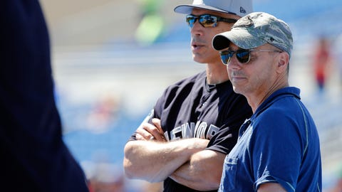 Mar 3, 2017; Dunedin, FL, USA; New York Yankees general manager Brian Cashman and manager Joe Girardi (28) talk prior to their spring training game against the Toronto Blue Jays at Florida Auto Exchange Stadium. Mandatory Credit: Kim Klement-USA TODAY Sports