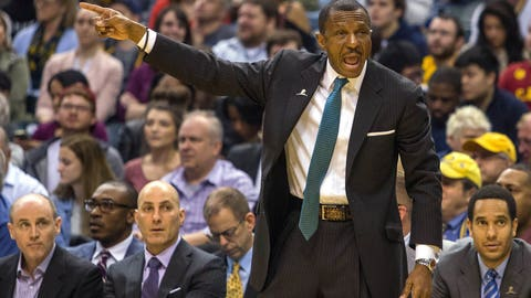 Apr 4, 2017; Indianapolis, IN, USA; Toronto Raptors head coach Dwane Casey calls out a play from the sideline in the first half of the game at Bankers Life Fieldhouse. The Pacers beat the Raptors 108-90. Mandatory Credit: Trevor Ruszkowski-USA TODAY Sports