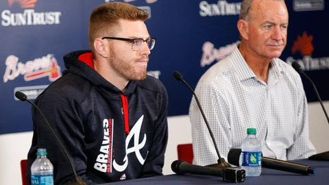 May 18, 2017; Atlanta, GA, USA; Atlanta Braves first baseman Freddie Freeman and president of baseball operations John Hart speak to the media before a game against the Toronto Blue Jays at SunTrust Park. Mandatory Credit: Brett Davis-USA TODAY Sports