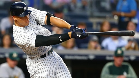 NEW YORK, NY - MAY 26:  Aaron Judge #99 of the New York Yankees hits a single in the fourth inning against the Oakland Athletics at Yankee Stadium on May 26, 2017 in the Bronx borough of New York City.  (Photo by Mike Stobe/Getty Images)