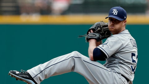 Tampa Bay Rays starting pitcher Alex Cobb delivers in the first inning of a baseball game against the Cleveland Indians, Wednesday, May 17, 2017, in Cleveland. (AP Photo/Tony Dejak)
