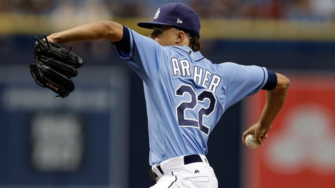 Tampa Bay Rays' Chris Archer goes into his windup against the New York Yankees during the first inning of a baseball game, Sunday, May 21, 2017, in St. Petersburg, Fla. (AP Photo/Chris O'Meara)