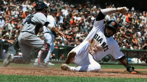 May 28, 2017; San Francisco, CA, USA; Francisco Giants 10 third baseman Eduardo Nunez (10) scores on a two run RBI by shortstop Brandon Crawford (35) (not pictured) in the second inning of their MLB baseball game with the the Atlanta Braves at AT&T Park. Mandatory Credit: Lance Iversen-USA TODAY Sports