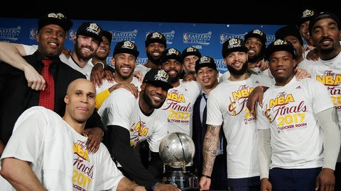 BOSTON, MA - MAY 25:  The Cleveland Cavaliers pose with the Eastern Conference Championship Trophy after defeating the Boston Celtics 135-102 in Game Five of the 2017 NBA Eastern Conference Finals at TD Garden on May 25, 2017 in Boston, Massachusetts. The Cleveland Cavaliers defeat the Boston Celtics 4-1 in the Eastern Conference Finals to advance to the 2017 NBA Finals. NOTE TO USER: User expressly acknowledges and agrees that, by downloading and or using this photograph, User is consenting to the terms and conditions of the Getty Images License Agreement.  (Photo by Elise Amendola - Pool/Getty Images)