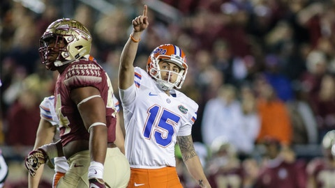 TALLAHASSEE, FL - NOVEMBER 26:  Florida Gators kicker Eddy Pineiro (15) celebrates a field goal during the NCAA football game between the Florida Gators and the Florida State Seminoles on November 26, 2016, at Bobby Bowden Field at Doak Campbell Stadium in Tallahassee, Fl.  (Photo by David Rosenblum/Icon Sportswire) (Icon Sportswire via AP Images)