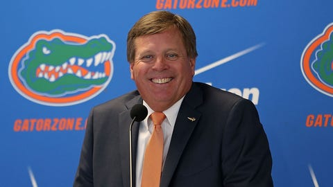 GAINESVILLE, FL - DECEMBER 06:  Florida Gators head coach Jim McElwain speaks during an introductory press conference on December 6, 2014 in Gainesville, Florida. McElwain has left Colorado State and replaces ex-Florida coach Will Muschamp who was fired earlier this season.  (Photo by Rob Foldy/Getty Images)