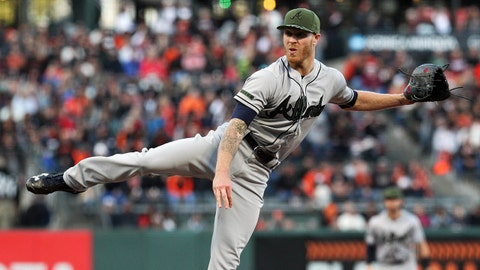 May 27, 2017; San Francisco, CA, USA; Atlanta Braves starting pitcher Mike Foltynewicz (26) throws to the San Francisco Giants in the first inning of their MLB baseball game at AT&T Park. Mandatory Credit: Lance Iversen-USA TODAY Sports