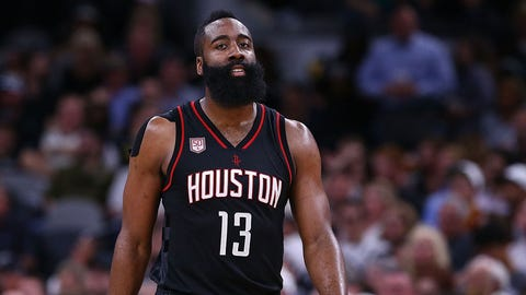SAN ANTONIO, TX - MAY 03:  James Harden #13 of the Houston Rockets reacts against the San Antonio Spurs during Game Two of the NBA Western Conference Semi-Finals at AT&T Center on May 3, 2017 in San Antonio, Texas.  NOTE TO USER: User expressly acknowledges and agrees that, by downloading and or using this photograph, User is consenting to the terms and conditions of the Getty Images License Agreement.  (Photo by Ronald Martinez/Getty Images)