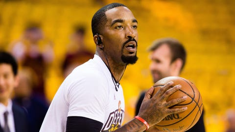 CLEVELAND, OH - MAY 1: JR Smith #5 of the Cleveland Cavaliers warms put prior to the start of Game One of the NBA Eastern Conference semifinals against the Toronto Raptors at Quicken Loans Arena on May 1, 2017 in Cleveland, Ohio. NOTE TO USER: User expressly acknowledges and agrees that, by downloading and or using this photograph, User is consenting to the terms and conditions of the Getty Images License Agreement. (Photo by Jason Miller/Getty Images)