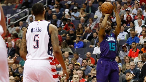 Apr 4, 2017; Washington, DC, USA; Charlotte Hornets guard Kemba Walker (15) shoots the ball as Washington Wizards forward Markieff Morris (5) looks on in the second quarter at Verizon Center. Mandatory Credit: Geoff Burke-USA TODAY Sports