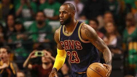 BOSTON, MA - MAY 25:  LeBron James #23 of the Cleveland Cavaliers handles the ball in the first half against the Boston Celtics during Game Five of the 2017 NBA Eastern Conference Finals at TD Garden on May 25, 2017 in Boston, Massachusetts. NOTE TO USER: User expressly acknowledges and agrees that, by downloading and or using this photograph, User is consenting to the terms and conditions of the Getty Images License Agreement.  (Photo by Elsa/Getty Images)