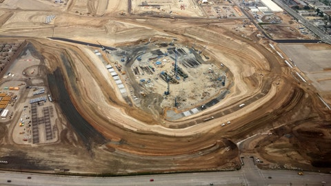General overall aerial view of L.A. Stadium and Entertainment District at Hollywood Park under construction, Monday, April 3, 2017 in Inglewood, Calif. The venue, privately financed by Los Angeles Rams owner Stan Kroenke, is scheduled to open in 2019. It will be the home to the Rams and the Los Angeles Chargers and will play host to Super Bowl LV in 2021. (NFL Contributor via AP Images)