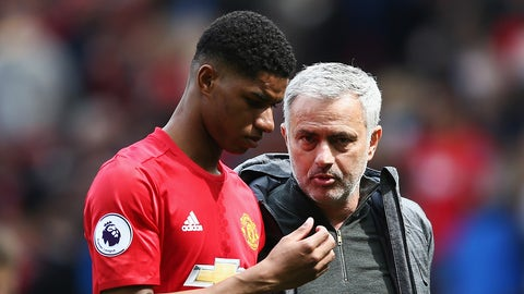 MANCHESTER, ENGLAND - APRIL 30:  Marcus Rashford of Manchester United and Jose Mourinho, Manager of Manchester United look dejected after the Premier League match between Manchester United and Swansea City at Old Trafford on April 30, 2017 in Manchester, England.  (Photo by Jan Kruger/Getty Images)