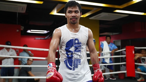 MANILA, PHILIPPINES - MAY 19:  Manny Pacquiao looks on during a training session at Elorde boxing Gym on May 19, 2017 in Manila, Philippines.  (Photo by Chris Hyde/Getty Images)