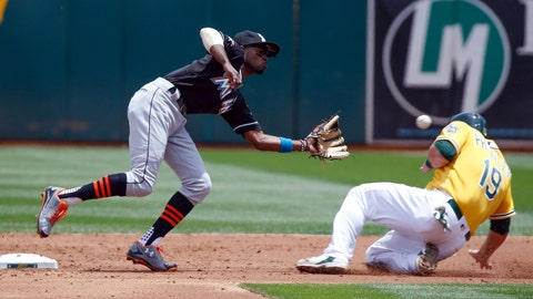 May 24, 2017; Oakland, CA, USA; Oakland Athletics catcher Josh Phegley (19) slides towards Miami Marlins second baseman Dee Gordon (9) during the second inning at Oakland Coliseum. Mandatory Credit: Stan Szeto-USA TODAY Sports