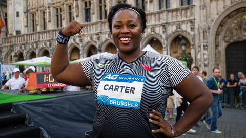 US athlete Michelle Carter celebrates after winning the shot put event of the 40th edition of the Memorial Van Damme athletics meeting on September 8, 2016 in Brussels. 