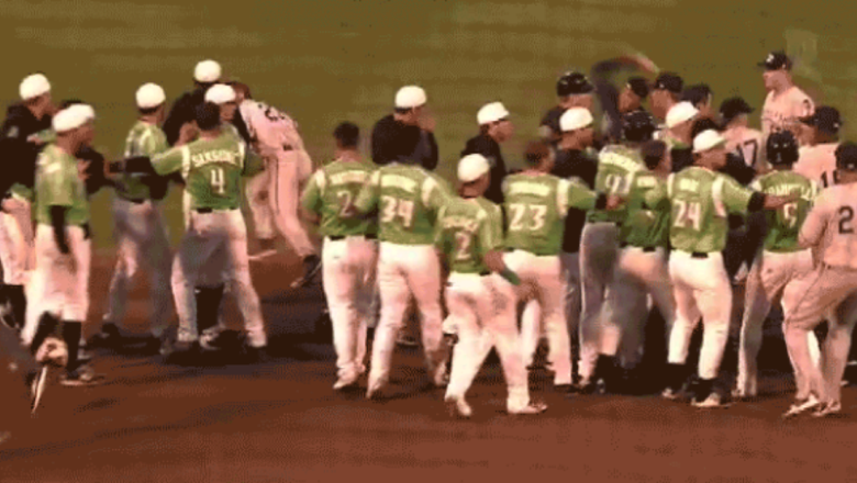 Watch: Minor league player throws baseball at opponent during brawl
