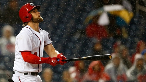 WASHINGTON, DC - MAY 23: Bryce Harper #34 of the Washington Nationals flies out against the Seattle Mariners for the second out of the third inning  at Nationals Park on May 23, 2017 in Washington, DC. (Photo by Matt Hazlett/Getty Images)