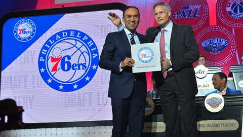 NEW YORK, NEW YORK - MAY 17:  Mark Tatum, NBA's deputy commissioner, poses for a photo with Brett Brown of the Philadelphia 76ers as they get the #1 pick during the 2016 NBA Draft Lottery at the New York Hilton in New York, New York. NOTE TO USER: User expressly acknowledges and agrees that, by downloading and or using this Photograph, user is consenting to the terms and conditions of the Getty Images License Agreement.  Mandatory Copyright Notice: Copyright 2016 NBAE (Photo by Jesse D. Garrabrant/NBAE via Getty Images)