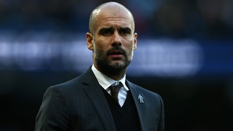 MANCHESTER, ENGLAND - JANUARY 02:  Josep Guardiola, Manager of Manchester City looks on prior to the Premier League match between Manchester City and Burnley at Etihad Stadium on January 2, 2017 in Manchester, England.  (Photo by Jan Kruger/Getty Images)