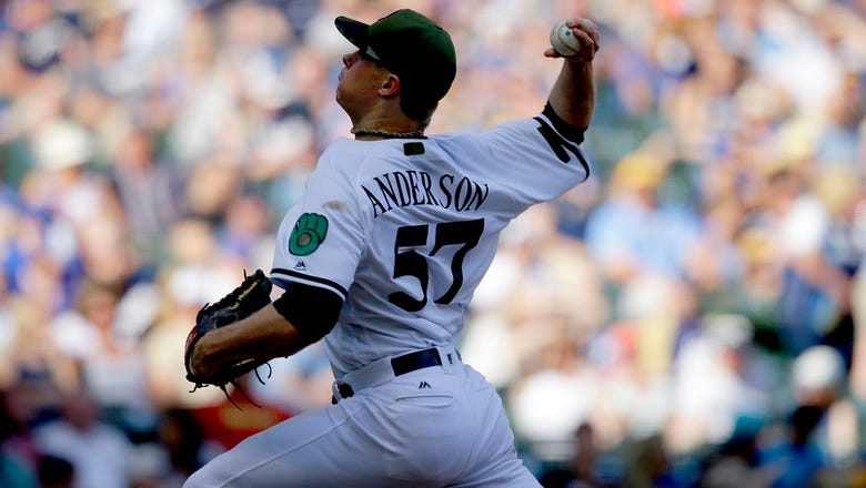 Brewers win as Anderson takes no-hit bid into 8th inning