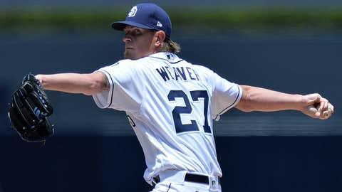 Padres starting pitcher Jered Weaver (0-4, 6.05 ERA)