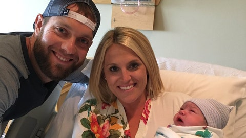 Royals left fielder Alex Gordon, wife Jamie, new daughter Joey Lynn