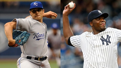 Royals starter Jason Vargas and Yankees starter Michael Pineda