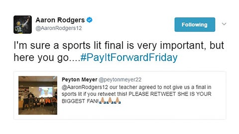 Packers QB Aaron Rodgers gets class out of final exam with retweet