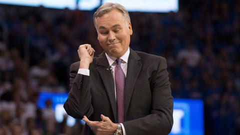 OKLAHOMA CITY, OK - APRIL 21:  Mike D'Antoni of the Houston Rockets reacts after the Oklahoma City Thunder are charged with a foul during the first half of Game Three in the 2017 NBA Playoffs Western Conference Quarterfinals  on April 21, 2017 in Oklahoma City, Oklahoma.   NOTE TO USER: User expressly acknowledges and agrees that, by downloading and or using this photograph, User is consenting to the terms and conditions of the Getty Images License Agreement. (Photo by J Pat Carter/Getty Images)