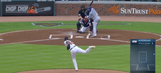 Julio Teheran drills Jose Bautista with fastball in first at bat