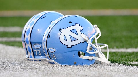 10 September 2016:  North Carolina Tar Heels helmets during the game between the North Carolina Tar Heels and the Illinois Fighting Illini at Memorial Stadium in Champaign, Illinois. (Photo by Michael Allio/ICON Sportswire) (Icon Sportswire via AP Images)