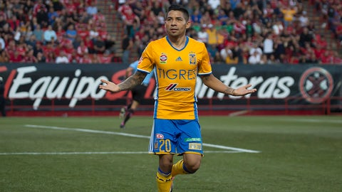TIJUANA, MEXICO - MAY 21: Javier Aquino celebrates after scoring his team's first goal during the semi finals second leg match between Tijuana and Tigres UANL as part of the Torneo Clausura 2017 Liga MX at Caliente Stadium on May 21, 2017 in Tijuana, Mexico. (Photo by David Garrido/LatinContent/Getty Images)
