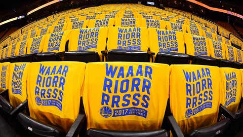 OAKLAND, CA - MAY 2: Shirts are placed on the seats for fans before the game between the Golden State Warriors and the Utah Jazz during Game One of the Western Conference Semifinals of the 2017 NBA Playoffs on May 2, 2017 at ORACLE Arena in Oakland, California. NOTE TO USER: User expressly acknowledges and agrees that, by downloading and or using this photograph, user is consenting to the terms and conditions of Getty Images License Agreement. Mandatory Copyright Notice: Copyright 2017 NBAE (Photo by Noah Graham/NBAE via Getty Images)