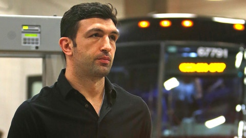 Golden State Warriors center Zaza Pachulia (27) arrives at the AT&T center for Game 3 of the NBA basketball Western Conference finals against the San Antonio Spurs, Saturday, May 20, 2017, in San Antonio. (AP Photo/Ronald Cortes)