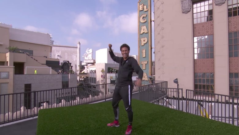 Watch Neymar score a goal from a rooftop kicking across Hollywood Blvd