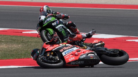 Chaz Davies crashes while in the lead on the final lap of the World Superbike race at Misano. (Photo: Gold and Goose Photography/LAT Images)