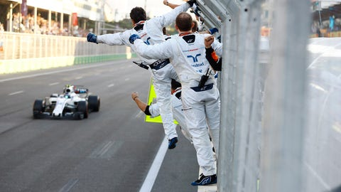 The Williams Martini Racing team celebrates as Lance Stroll finishes third in Azerbaijan. (Photo: Steven Tee/LAT Images)
