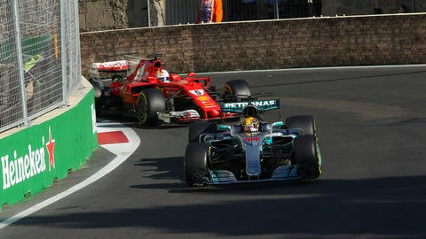 Lewis Hamilton and Sebastian Vettel made contact under the safety car in Baku. (Photo: Charles Coates/LAT Images)