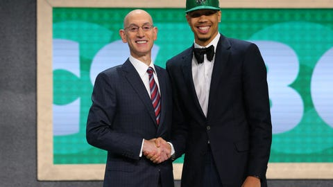 Jun 22, 2017; Brooklyn, NY, USA; Jayson Tatum (Duke) is introduced by NBA commissioner Adam Silver as the number three overall pick to the Boston Celtics in the first round of the 2017 NBA Draft at Barclays Center. Mandatory Credit: Brad Penner-USA TODAY Sports