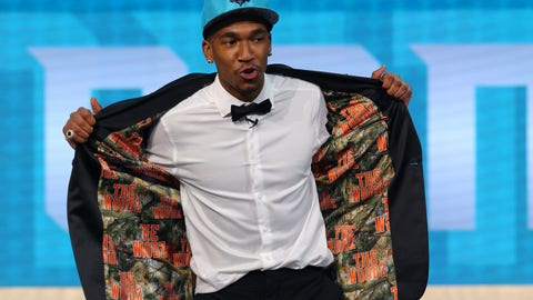 Jun 22, 2017; Brooklyn, NY, USA; Malik Monk (Kentucky) shows off the inside of his suit jacket as he is introduced as the number eleven overall pick to the Charlotte Hornets in the first round of the 2017 NBA Draft at Barclays Center. Mandatory Credit: Brad Penner-USA TODAY Sports
